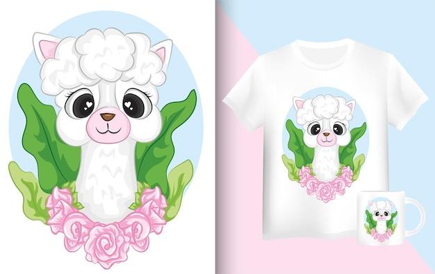 シャツとマグカップのラマ。かわいい漫画落書きラマキャラクターデザイン。