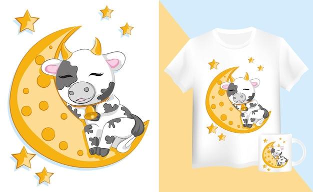 かわいい漫画の雄牛とシャツとマグカップは月に眠っています