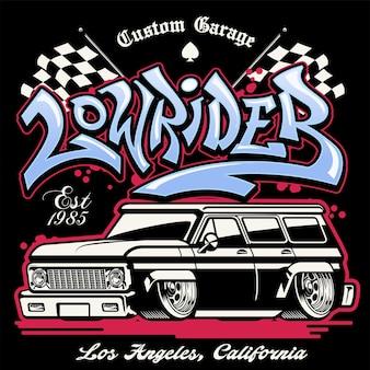 Shirt design of hip hop graffiti lowrider truck