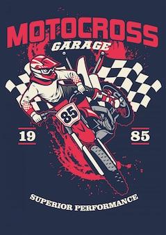 Shirt design of motorcycle racing garage