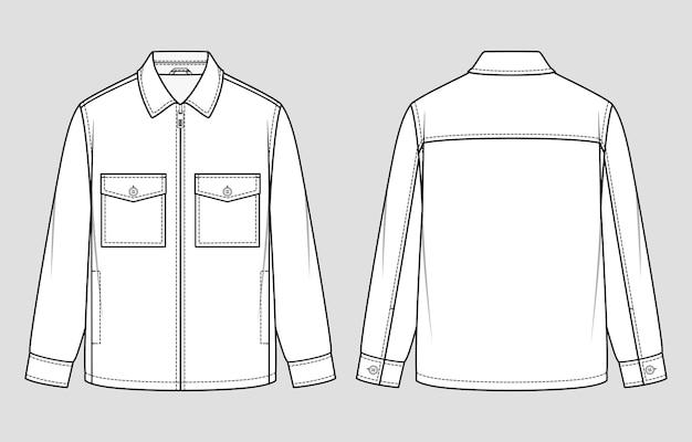 Куртка-рубашка. застежка-молния спереди. векторная иллюстрация. плоский технический чертеж.