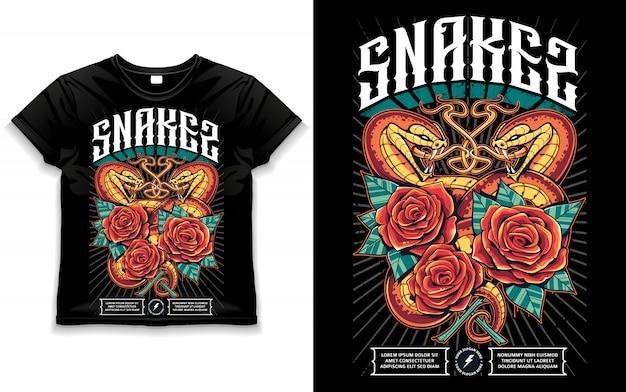 Печать на рубашке с двумя змеями
