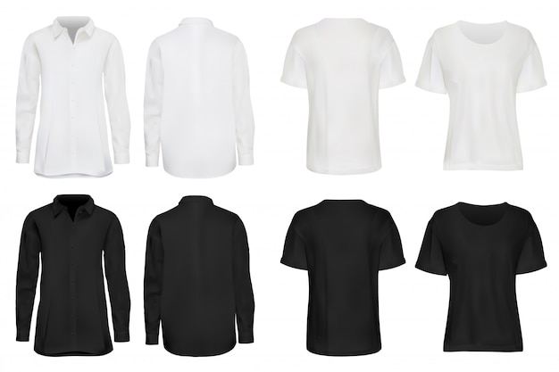 Shirt set. realistic dark, white shirt, sweatshirt and t-shirt set  on light background.  fashionable apparel with empty place for brand  illustration. casual wear front, back view