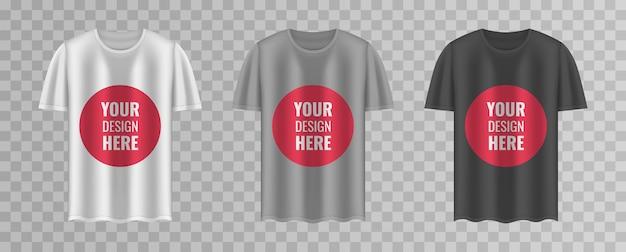Комплект рубашки. шаблон футболки на прозрачном фоне. черная, серая и белая версия, дизайн передней части. иллюстрация.