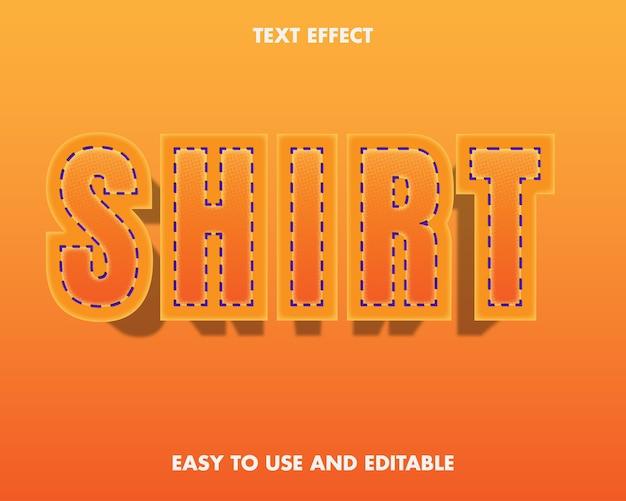 Эффект текста рубашки. легко использовать и редактировать. премиум векторные иллюстрации