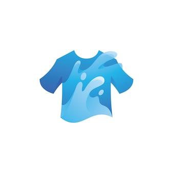 Shirt and water splash wash logo