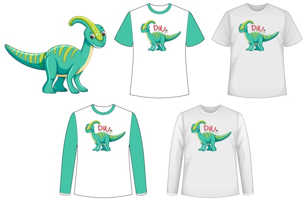 Shirt with dinosaur cartoon character