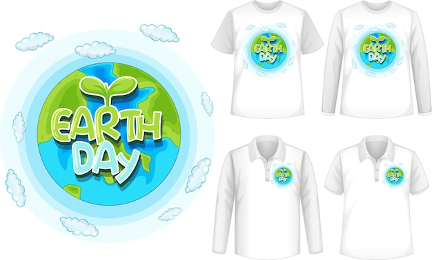 Shirt with earth day icon