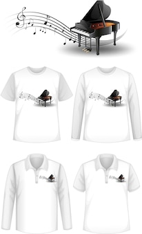Shirt with piano music instruments logo