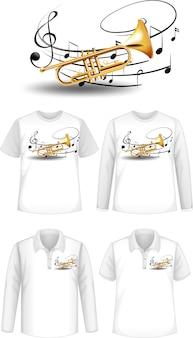 Camicia con disegno di strumenti musicali a tromba