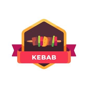 Shish kebab on a wooden stick. fast food label