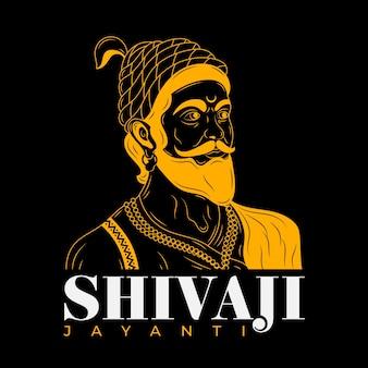 Illustrazione di shivaji maharaj in oro e nero