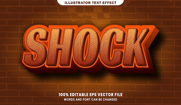 Шокирующий эффект редактируемого стиля текста 3d