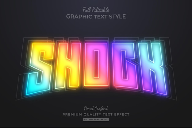 Shock gradient blur editable text effect font style