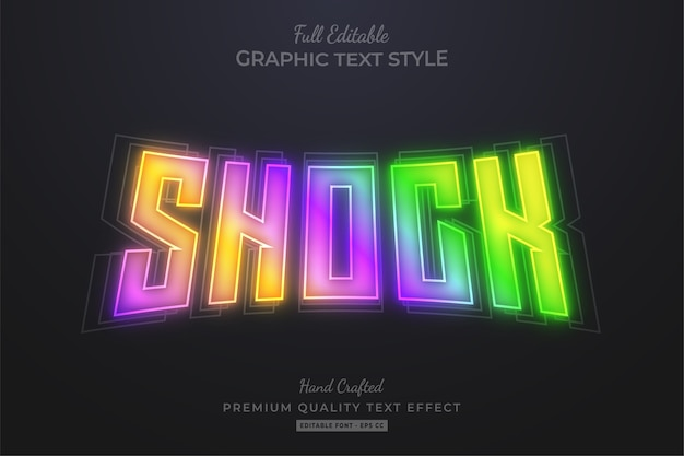 Shock gradient glow editable text effect