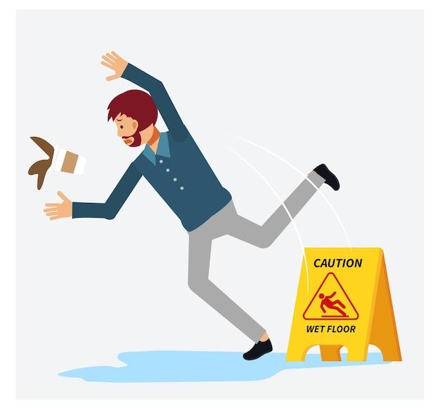 젖은 바닥에서 충격을받은 남자도 그의 커피를 쏟았습니다. 슬립 젖은 바닥.