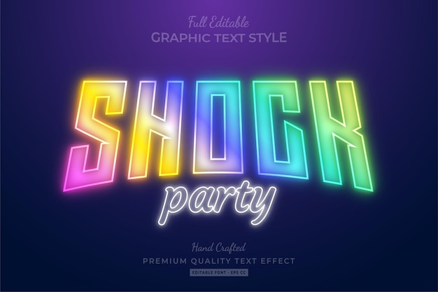 Shock party holographic editable   text effect font style