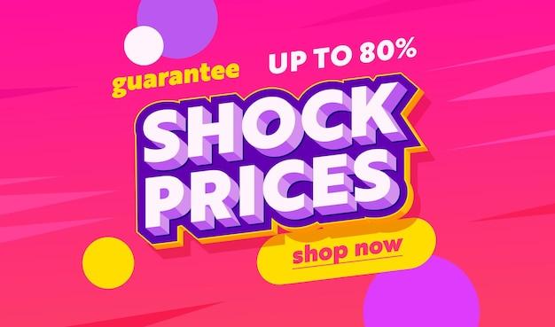 타이포그래피가 있는 충격 가격 판매 광고 배너. 다채로운 동그라미와 핑크 배경입니다. 쇼핑 할인, 소셜 미디어 프로모션 콘텐츠 광고, 포스터, 전단지 템플릿 디자인. 벡터 일러스트 레이 션
