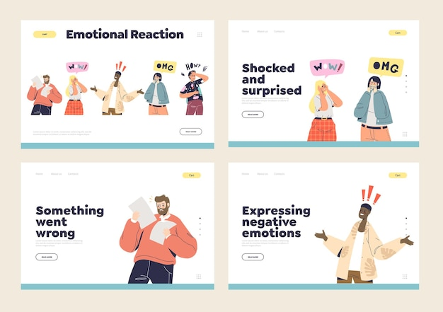 Shock and surprise emotion and reactions set with shocked astonished cartoons