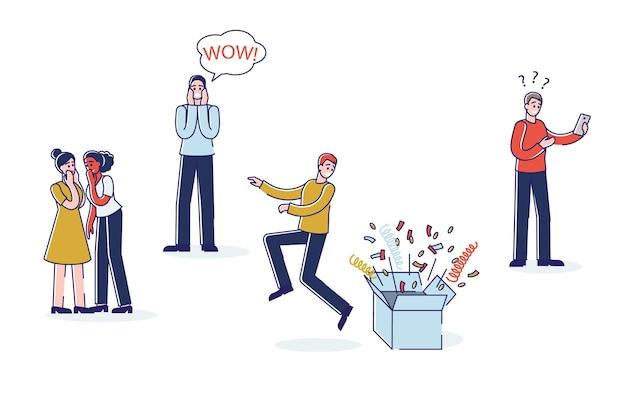 Шокированные и удивленные люди. набор персонажей мультфильма эмоциональный страх