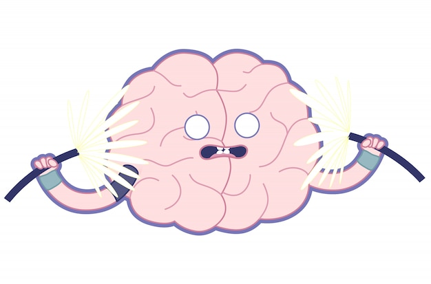 Shocked brain flat illustration, train your brain.