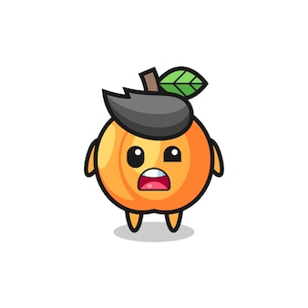 The shocked face of the cute apricot mascot , cute style design for t shirt, sticker, logo element