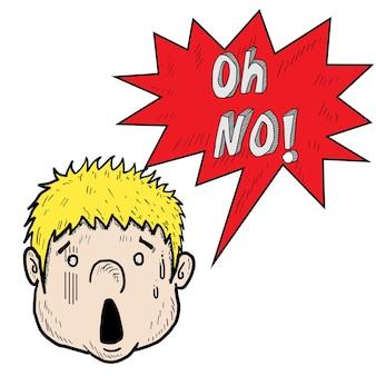 Эскиз шокированного лица, рисование мультфильма от руки с о, нет слова. eps 10 вектор.
