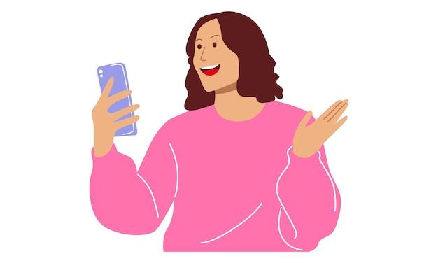 ショックを受けた女の子がスマートフォンを覗き込む