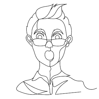 Shocked man in eyeglasses portrait one line art. surprised male facial expression. hand drawn linear man silhouette.