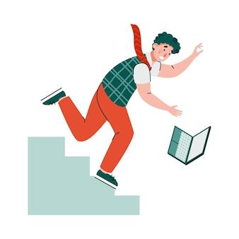 Шокированный человек с ноутбуком падает с лестницы Premium векторы