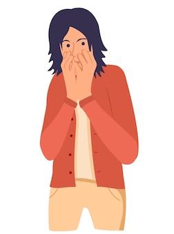 Шокированный молодой человек закрывает рот рукой испуганный мальчик держит пальцы на губах человеческие эмоции