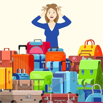 Shocked young woman girl traveller have problems with suitcases too many things to take  illustration flat style. packing luggage bags for trip.