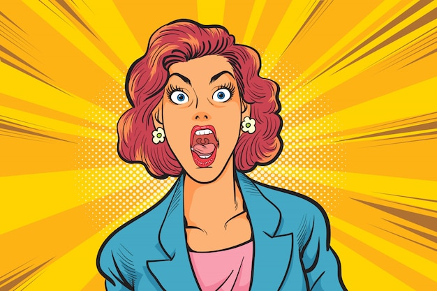 衝撃的なビジネス女性はコミックスタイルを手します。ポップアートコミックスタイルで美しい驚く女性。