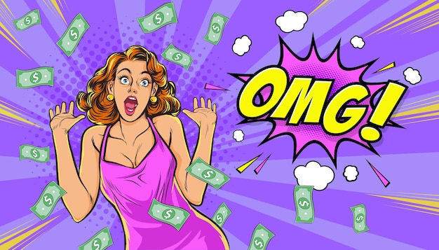 Shocking woman hand up omg surprised with falling down money in the pop art comics style