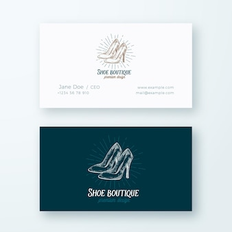 Shoe boutique abstract  logo and business card template. high heels women shoes illustration and vintage typography emblem. premium stationary realistic .