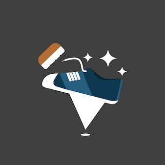 Shoe clean laundry spot or pin location logo with casual shoe icon