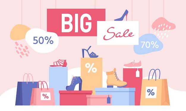 Скидка на обувь. большой баннер продажи с хозяйственными сумками и женской обувью на коробке. магазин специальное предложение для модной обуви и кроссовок векторный дизайн. иллюстрация скидка и распродажа баннер модное предложение