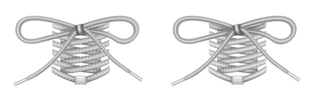 나비 매듭이있는 신발 끈, 신발류 액세서리, eglets가있는 회색 신발 끈.