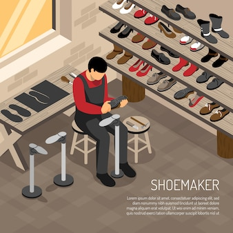 Shoe maker during work on  of shelves with foot wear isometric