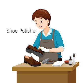 Shoe polisher polishing man shoes