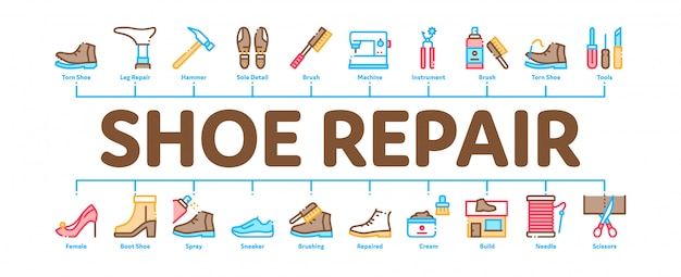 Shoe repair equipment minimal infographic banner