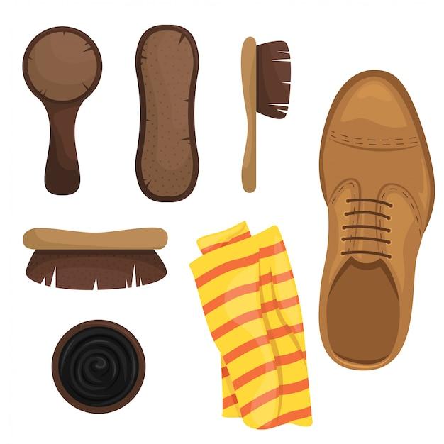 Чистка обуви комплект. кисти, губки, обувь польская. иллюстрации.