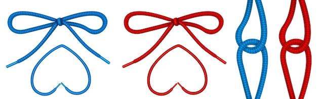 Lacci legati con nodo e fiocco, corde per scarpe a forma di cuore e cerniera.