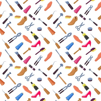 Shoemaker or cobbler tools set seamless pattern
