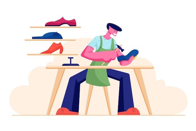 Мужской персонаж-сапожник в фартуке сидит за рабочим столом, чинит обувь в мастерской с подставкой для обуви на полках