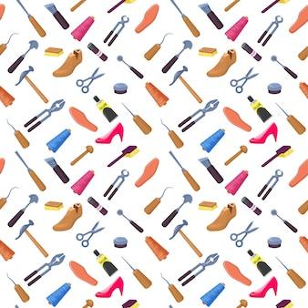 靴屋や石畳のツールセットシームレスパターン