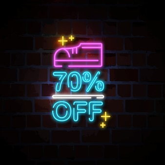 Shoes 70% off neon sign illustration