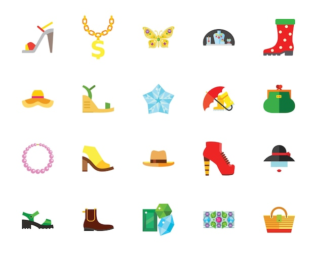 Shoes and accessories creative icon set