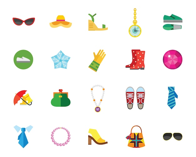 Shoes and accessories icon set