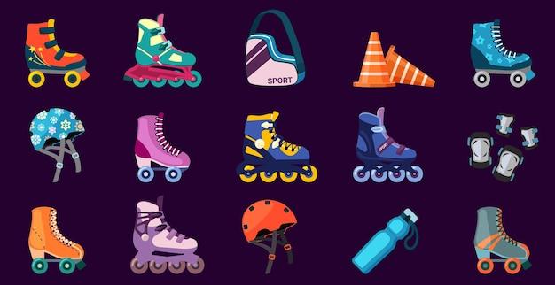 롤러 스케이팅용 신발 및 장비 세트. 안전 헬멧과 무릎 패드는 80년대와 90년대 빈티지 스타일의 스케이트 조깅 바퀴 달린 부츠 익스트림 레저와 함께 활동적이고 재미있는 피트니스를 제공합니다. 벡터 재미입니다.